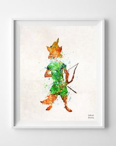 Robin Hood Print Watercolor Illustrations by InkistPrints on Etsy #RobinHood #etsy #illustration