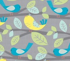 Novelty Cotton Fabric- Birds Gray, Blue & Yellow, Curtains for my girl's room.