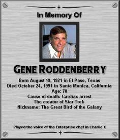 Gene Roddenberry, The father of The Star Trek series. Star Trek Crew, Star Trek Tv, Star Wars, Star Trek Original Series, Star Trek Series, Tv Series, Star Trek Actors, Star Trek Characters, Star Trek Starships