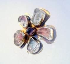 Statement Ring of Flower with Rough by laurastamperdesigns on Etsy, $240.00