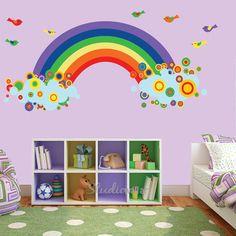 Rainbow Wall Decal with BIRDS Reusable by StudioWallArt on Etsy, $90.00