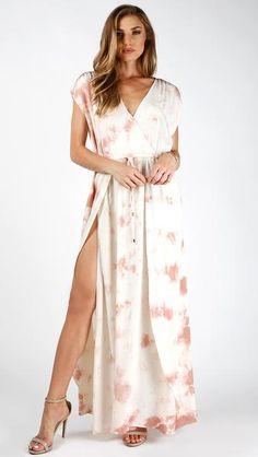 Tie Dye Overwrap Maxi Dress #navy #lightpink #twocolors #coverup