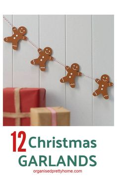 Love this cute gingerbread men Christmas garland for decorating the mantle or tr. Love this cute gingerbread men Christmas garland for decorating the mantle or tree. – Organised P Gingerbread Man Decorations, Gingerbread Christmas Decor, Diy Christmas Garland, Country Christmas Decorations, Handmade Christmas Tree, Christmas Tree Themes, Christmas Crafts For Kids, Felt Christmas, Rustic Christmas