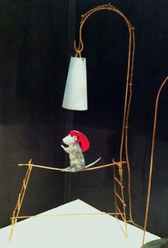 """""""Walking The Tight Rope"""" I found these amazing hand crafted """"Rat Lamps"""" in Paris. They have been made by an eccentric French Atelier, he makes each one by hand from various materials: wire for the frame, paper mache - the rat (cute isn't he) and zinc for the light. He has a series of fun quirky pieces and I have posted my favourites. Hope you enjoy them as much as I do."""