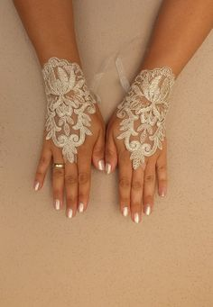wedding gloves lace glove wedding gold lace by WEDDINGGloves, $30.00