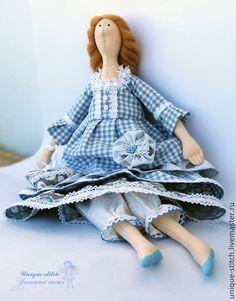 Купить Бекки - голубой, серый, кукла интерьерная, кукла Тильда, кукла ручной работы, бязь ♡
