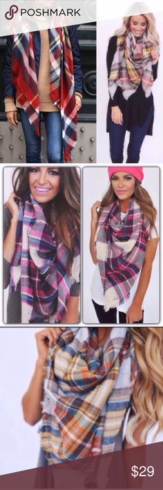"Oversized Tartan Blanket Scarf in THREE COLORS Brand new oversized tartan blanket scarves. Approx 55x55"". 100% acrylic. Super stylish for fall and so so many ways to style it!!! My best sellers for sure! You can pick your color at checkout. 2 for $49. Accessories Scarves & Wraps"