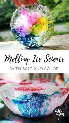 This melting ice science experiment uses salt to melt tunnels in the ice and color to highlight the tunnels. Beautiful and fun for kids and adults alike! via @The Artful Parent #kidsactivities #scienceforkids #summerfun #colorful #kids