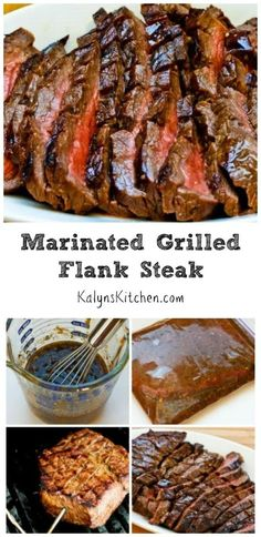 For anyone who enjoys beef this Marinated and Grilled Flank Steak is the perfect recipe for a summer holiday party or family dinner. This tasty grilled flank steak is low-carb gluten-free and it can be Paleo with the right ingredient choices. [from Kal Flank Steak Recipes, Meat Recipes, Paleo Recipes, Low Carb Recipes, Cooking Recipes, Delicious Recipes, Barbecue Recipes, Barbecue Sauce, Recipes Dinner