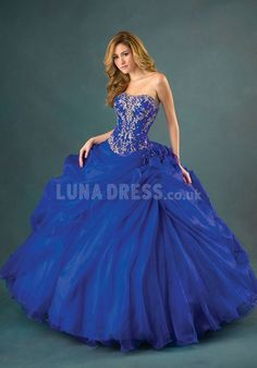 Plain Organza Strapless Spring & Winter Ball Gown Quinceanera Dresses #QuinceaneraGown