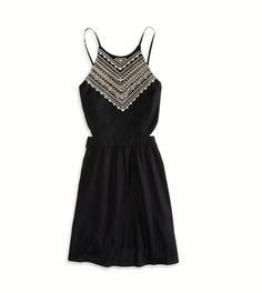 Black Embroidered Halter Sundress
