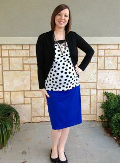 Black and white polka dots with blue skirt. Modern Modesty. Maternity Fashion