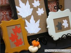 Mount spray-painted leaves onto butcher paper to add a fall touch to basic picture frames. Get the tutorial at 52 Mantels. RELATED: 16 Can't-Miss Pumpkin Desserts   - CountryLiving.com
