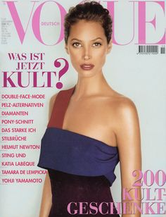 Christy Turlington by Mark Abrahams Vogue Deutsch November 1997 Vogue Magazine Covers, Vogue Covers, Christy Turlington, Yohji Yamamoto, Vogue Photography, She Walks In Beauty, Vogue Spain, Vogue Us, Fashion Cover