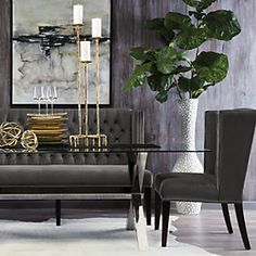 dark grays, gold - Liked @ www.homescapes-sd.com #staging San Diego home stager (760) 224-5025 #contemporarydining