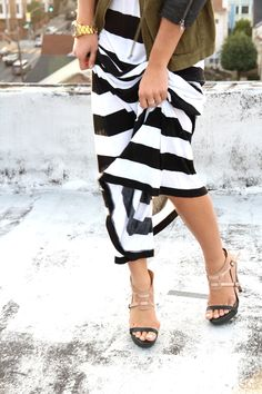 shoes. maxi skirt.
