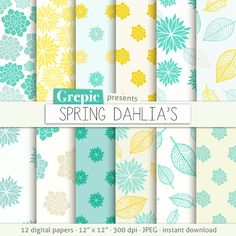 Dahlia flower digital paper: SPRING DAHLIAS clip art floral patterns, yellow green dahlia's paper leaves with dahlia flowers backgrounds