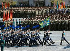 The Russian Air Force Honor Guard Company marching through Red Square in the 2013 Moscow Victory Day Parade.