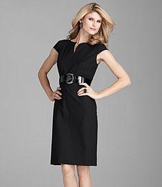 Antonio Melani Quince Shadow-Stripe Belted Dress