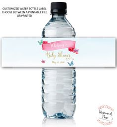 water bottle labels butterfly watercolor water wrap baby shower printed or printable cordoba collection