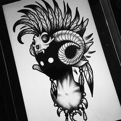 darkhead tattoo design blackwork monster creature creepy dotwork headdress feather skull animal chaman warrior tomahawk