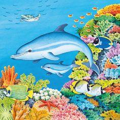 . Cartoon Dolphin, Dolphin Art, Ocean Paintings, Leagues Under The Sea, Beautiful Nature Wallpaper, Kids Artwork, Ocean Art, Dolphins, Habitats