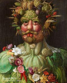 Giuseppe Arcimboldo Portrait of Rudolf II of Habsburg as Vertumnus Art Print Stock Code : Giuseppe Arcimboldo, Great Paintings, Original Paintings, Art Sur Toile, Creative Food Art, Fine Art Prints, Canvas Prints, Buy Canvas, Oil Painting Reproductions