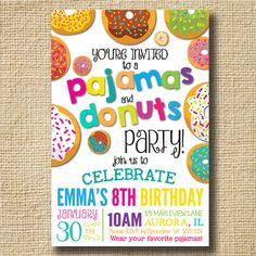 PRINTABLE Donuts and Pajamas Party Invitation by creativelime