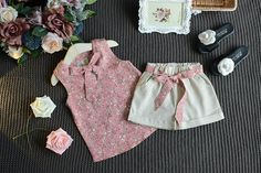 outfits with shorts Item Type: Sets (Included 1 shirt and 1 pants) Collar: O-Neck Closure Type: Pullover Material: Lycra,Cotton Fit: Fits true to size, take your normal size Sleeve Baby Girl Dresses, Baby Dress, Baby Girl Fashion, Kids Fashion, Style Fashion, Kids Outfits, Summer Outfits, Baby Suit, Kids Wear