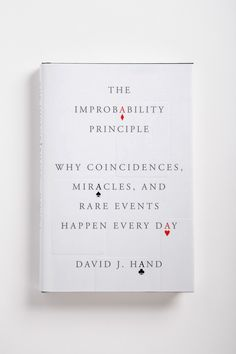 "Design by Oliver Munday ~ Cover for FSG: ""The Improbability Principle."" Playing card shapes are blind-embossed."