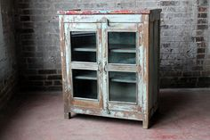 Vintage Reclaimed Cupboard Red Blue Turquoise Distressed Antique Indian Farm Chic Warm Industrial Kitchen Bathroom Cabinet Curio