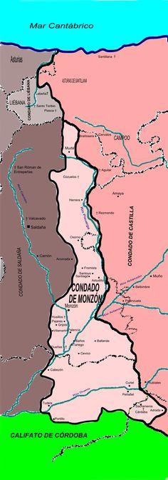 Condado de Monzón - Condado de Castilla - Wikipedia, la enciclopedia libre Spain History, San Roman, Archaeology, Culture, Movie Posters, Movies, Maps, Medieval, Skirts