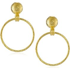 GURHAN Geo 24K Yellow Gold Small Hanging Hoop Earrings A classic pair of hoop earrings is a must-have for every womans jewelry collection. These GURHAN Geo small hanging hoop post earrings are the ideal choice for woman that has high taste yet simple. Part of Turkish designers Geo collection each post with a friction back features a rounded 24 karat yellow gold bauble measures 2 cm in diameter that supports a delicately thin hoop. An hammered texture adds interest and elevates the look from…