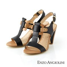 Enzo Angiolini T字寬條帶設計釦環高跟涼鞋-撞色黑 - Yahoo!奇摩購物中心