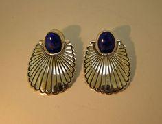 Allison Lee Navajo Earrings Lapis by TaxcoandMore on Etsy
