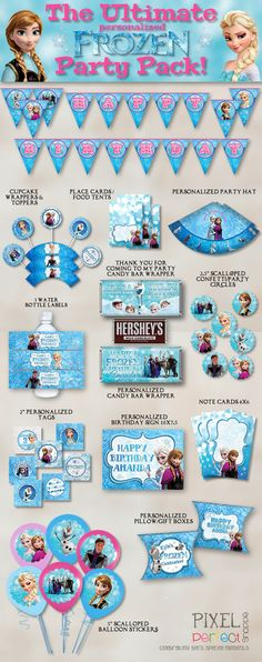 Birthday party frozen theme etsy 61 Ideas for 2019 Frozen Themed Birthday Party, Disney Birthday, 4th Birthday Parties, Birthday Ideas, 5th Birthday, Disney Frozen Party, Party Fiesta, Party Packs, Party Time