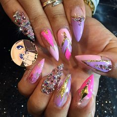 Crystals, pink, gold holographic by ILUVURNAILZ