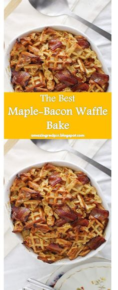 << >> Maple-Bacon Waffle Bake Delicious, this food is super delicious. all flavors are mixed together. Bacon Waffles, Good Food, Yummy Food, Maple Bacon, My Best Recipe, Amazing Recipes, Banana Bread, Vegan Recipes, I Am Awesome