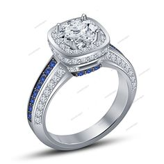 2.00Ct Blue Sapphire & VVS1 Diamond 14Kt White Gold FN 925 Silver Wedding…
