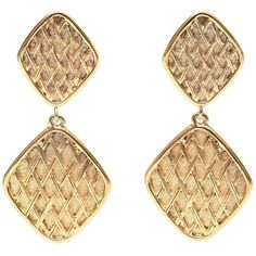 Preowned Pair Of Marked Chanel Double Criss Cross Hanging Clip On... ($695) ❤ liked on Polyvore featuring jewelry, earrings, chanel, beige, earring jewelry, gold plated jewellery, pre owned jewelry, gold plated earrings and clip on earrings
