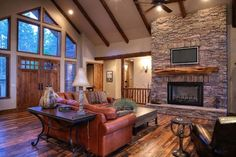 Wood mantel + TV over fireplace Pacific Northwest Style Design Ideas, Pictures, Remodel, and Decor Tv Over Fireplace, Fireplace Redo, Pacific Northwest Style, Foster House, Craftsman Home Interiors, A Frame House, Custom Home Designs, Craftsman Bungalows, Dream Decor