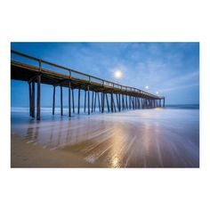Noir Gallery Ocean City, Maryland Pier and Waves Photo Print on .