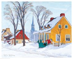 size: Stretched Canvas Print: Winter Morning in Baie-St-Paul by Clarence Alphonse Gagnon : Using advanced technology, we print the image directly onto canvas, stretch it onto support bars, and finish it with hand-painted edges and a protective coating. Canadian Painters, Canadian Artists, Clarence Gagnon, Baie St Paul, Beautiful Winter Scenes, Of Montreal, Painting Edges, Painting Abstract, Home Wall Art