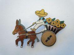 Margot de Taxco Sterling Enamel Pin Brooch Donkey w/ Flowers