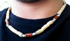Agate and Calcite Gems Men Necklace - New Custom Handmade Gemstone Necklace - Tribal Necklace - surfer necklace - Heishi Jewelry