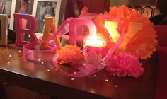 Baby shower decorations pink and orange