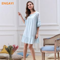 2e156a6561 ENGAYI New Summer Women Night Dress Nightgown Sexy Lace Night Gown  Nightdress Female Cotton Nightwear M5652