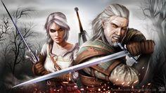 cartoonwarsblog: 167. Wiedźmin fan art | Geralt & Ciri