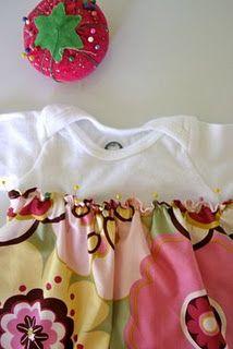 B: onesie into a dress, tutorial