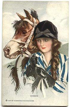 "Art Deco Darling - ""Winners"" ~ Harrison Fisher cover illustration for Cosmopolitan, 1917."